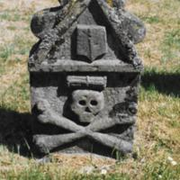 Gravestone with skull and crossbones
