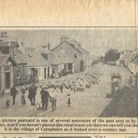 Newspaper clipping – 1910 PC of sheep on Main St Carsphairn<br /><br />