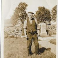 Uncle Gibson Stewart in graveyard