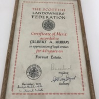 RMC_17 Framed certificate from SLF to Gilbert Murray for 40 years on Forrest Estate.jpg