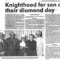 "Newspaper article - ""Knighthood for son on their Diamond Day"". Andrew & Amelia Sloan January 1991"