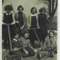 Carsphairn School girls with garden tools