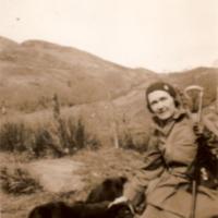 May Sloan at Buchan, with Sams stick