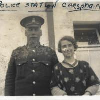 PC and Mrs McLellan outside Police Station. Carsphairn