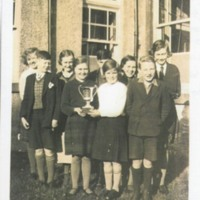 Carsphairn School Choir pupils after winning cup 1934