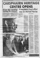Newspaper article – Galloway News, Thursday April 23rd, 1992. Carsphairn Heritage Centre Opens page 8