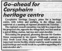 Newspaper clipping – Go-ahead for Carsphairn Heritage Centre