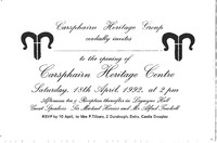 Invitation to opening of Carsphairn Heritage Centre, 18th April 1992, 3 copies
