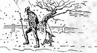 Hand-drawing depicting Amy Vernon walking home in the snow (1914)
