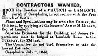 Advertisement from 'Dumfries Standard' July 1844, looking for Contractors to build Lamloch Church