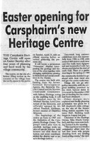 Newspaper clipping – Easter Opening for Carsphairn's new Heritage Centre