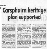 Newspaper clipping, August 1990. Carsphairn heritage plan supported