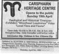 Newspaper clipping – Advert - Carsphairn Heritage Centre, opens to the public Sunday 19th April