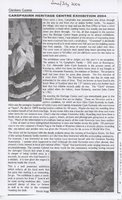 Newspaper article – Glenkens Gazette, June/July 2004. Carsphairn Heritage Centre Exhibition 2004