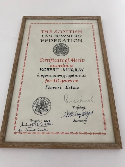 RMC_16 Framed certificate from SLF to Robbie Murray for 40 years on Forrest Estate.jpg