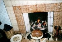 Clootie Dumpling in front of fire