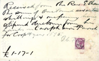 Receipt to Rev. E Shaw from P C Findlay