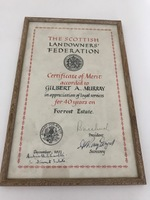 RMC_17 Framed certificate from SLF to Gilbert Murray for 40 years on Forrest Estate.jpg