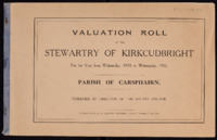 Valuation Rolls for Stewartry 1929-30