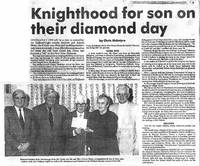 """Newspaper article - """"Knighthood for son on their Diamond Day"""". Andrew & Amelia Sloan January 1991"""
