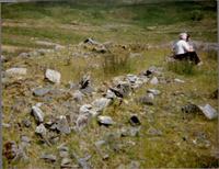 Trip to Woodhead Mine 1988, Mrs McNae sitting on doorstep of cottage she occupied 1930