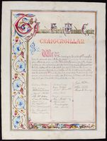 Illuminated scroll commemorating A F McAdam's majority