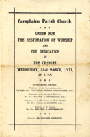 Order for the Restoration of Worship & the Dedication of the Chancel