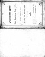 Complimentary Dinner, George Lawrence Esp, JP, Public Hall, New Deer, Thursday 10th November 1898<br /><br />